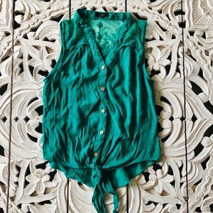 Green Sleeveless Button-Up with Tie